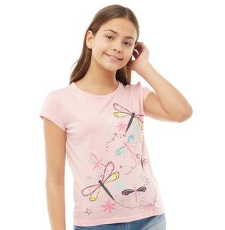 Board Angels Girls Dragonfly Print T-Shirt Pink