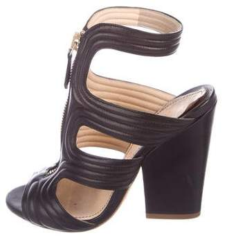 Jerome C. Rousseau Leather Zip-Up Sandals