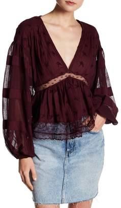 Free People Nostalgic Feels V-Neck Long Sleeve Knit Blouse