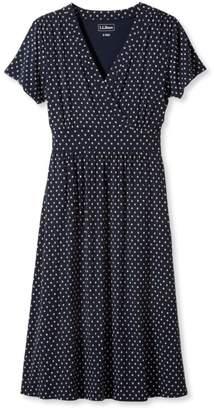 L.L. Bean L.L.Bean Summer Knit Dress, Short-Sleeve Beach Pebbles Print