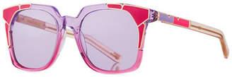 Pared Eyewear Tutti & Fruity Square Sunglasses w/ Resin Inlay