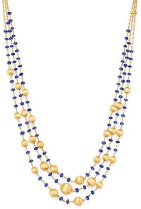 """Marco Bicego 18K Yellow Gold Africa Precious Blue Sapphire Triple Strand Statement Necklace, 17"""""""