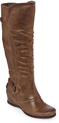 Yuu Womens Quinlan Riding Boots Wedge Heel Zip