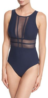 JETS by Jessika Allen Aspire Mesh-Insert High-Neck One-Piece Swimsuit $214 thestylecure.com