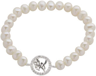 JCPenney FINE JEWELRY Cultured Freshwater Pearl & Crystal Chinese Love Symbol Stretch Bracelet