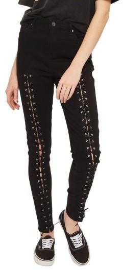 TopshopWomen's Topshop Jamie Front Laced Skinny Jeans
