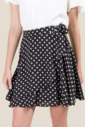 francesca's Madelina Polka Dot Wrap Skirt - Black
