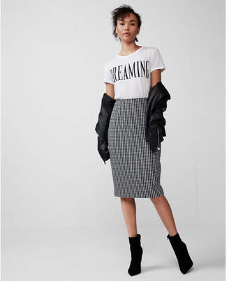 Express high waisted gingham pencil skirt
