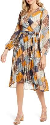 Moon River Patchwork Print Long Sleeve Wrap Dress