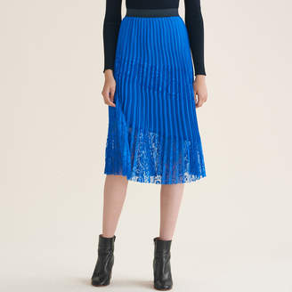 Maje Pleated skirt with lace