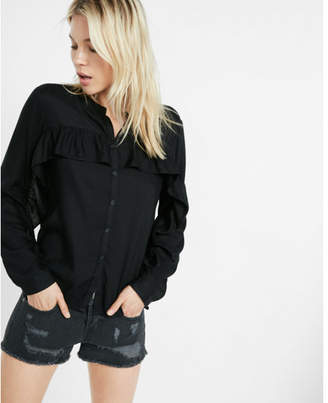 Express ruffle button front shirt $59.90 thestylecure.com
