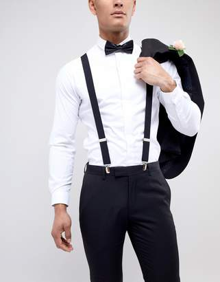 Religion wedding suspenders & bow tie set with tonal logo