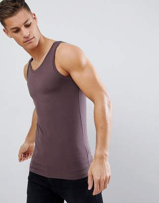 Asos Design DESIGN muscle fit singlet with stretch in brown