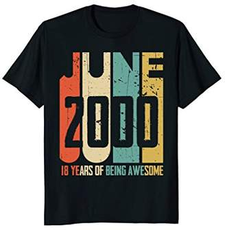 Retro Vintage June 2000 T-Shirt 18 Years Old Birthday Gift