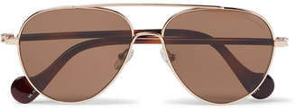 Moncler Aviator-Style Gold-Tone and Tortoiseshell Acetate Sunglasses - Brown