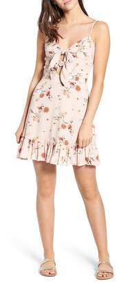 LOST + WANDER Rosa Floral Tie Front Minidress