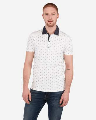 Express Printed Moisture-Wicking Chambray Collar Performance Stretch Polo