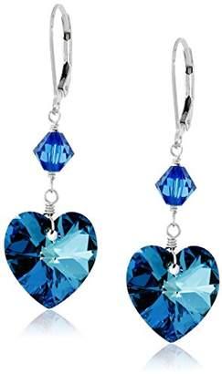 Swarovski Sterling Silver Bermuda Blue Heart Crystal Drop Earrings