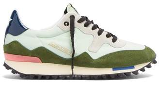 Golden Goose Starland Suede And Nylon Low Top Trainers - Womens - Green Multi