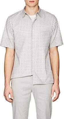 Theory Men's Bruner Squared-Dot-Print Stretch-Cotton Shirt