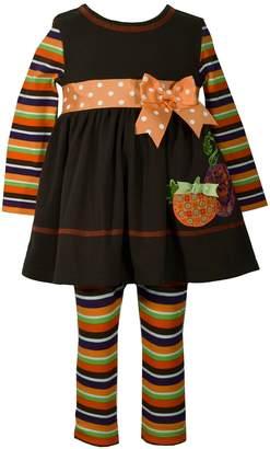 Bonnie Jean Toddler Girl Pumpkin Dress & Striped Leggings Set