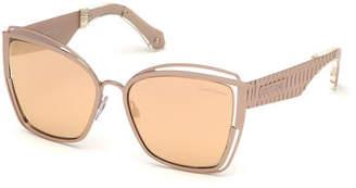 Roberto Cavalli Cutout Cat-Eye Mirrored Sunglasses