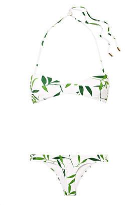 Caroline Constas Kali Printed Halterneck Bikini - White
