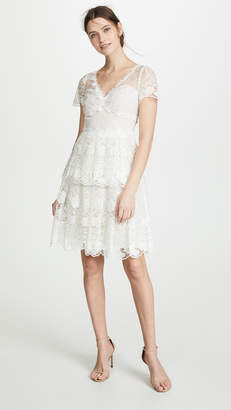 Marchesa Floral Eyelet Tiered Cocktail Dress