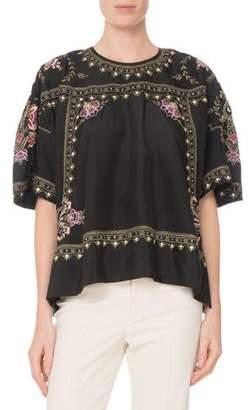 Isabel Marant Dante Short-Sleeve Embroidered Silk Tunic