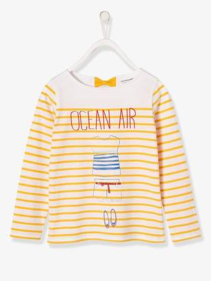 Girls' Navy-Style Top - pink light striped