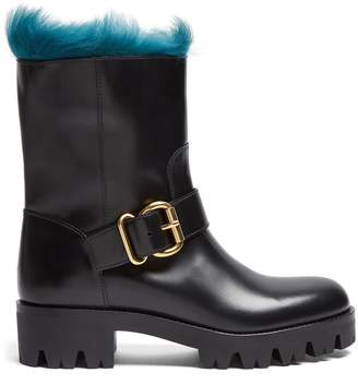 Prada Fur-lined leather ankle boots