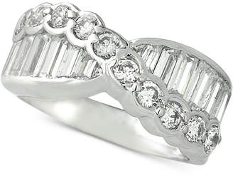 Giani Bernini Two-Tone Cubic Zirconia Crossover Statement Ring, Created for Macy's