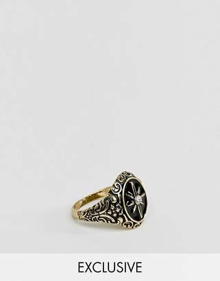 Reclaimed Vintage inspired ring with compass design in gold exclusive at ASOS
