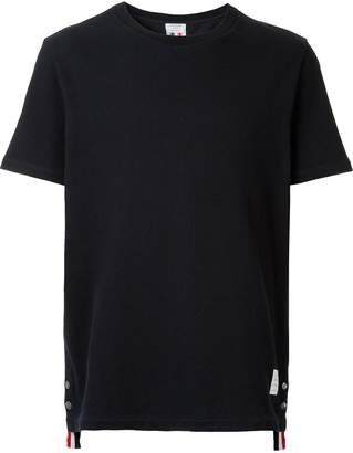 Thom Browne Center-Back Stripe Relaxed Fit Short Sleeve Pique Polo Tee