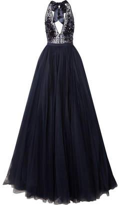 Embellished Tulle Halterneck Gown - Navy