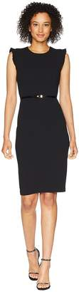 Calvin Klein Belted Flutter Sleeve Sheath Dress CD8C18MW Women's Dress