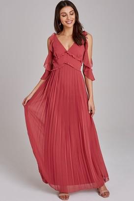 Little Mistress Cassidy Sienna Blush Cold-Shoulder Maxi Dress