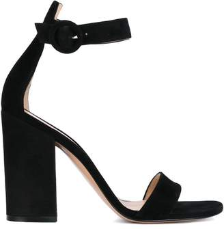 Gianvito Rossi Black Suede Versilia 105 sandals