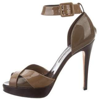 Brian Atwood Patent Leather Crossover Sandals