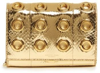 MICHAEL Michael KorsMichael Kors Small Yasmeen Metallic Genuine Snakeskin Clutch - Metallic
