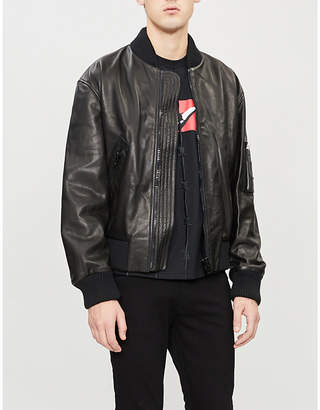 SWATSKY Stand-collar leather bomber jacket