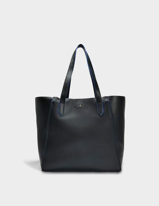 Hogan Piping Tote Bag in Black Grained Leather