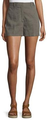 Theory Calila 2 Crunch Wash Linen Shorts, Dark Moss $190 thestylecure.com