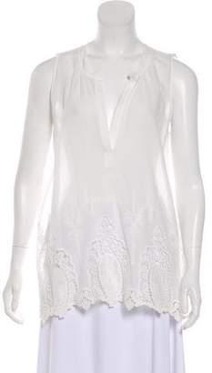 Velvet Sleeveless Embroidered Top