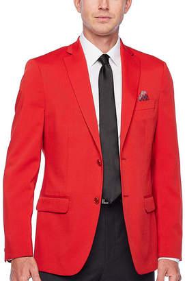 Izod Crimson Red Mens Classic Fit Sport Coat