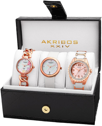 Akribos XXIV Women's Set Of 3 Diamond Watches