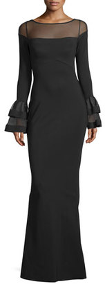 La Petite Robe di Chiara Boni Long-Sleeve Ponte Illusion Gown, Black $1,090 thestylecure.com