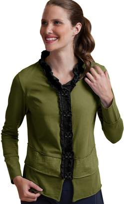 Neon Buddha Women's Cotton Ruffle Cardigan Female Short Jersey Jacket with Large Buttons and Exposed Seams