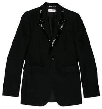Saint Laurent Sequin-Embellished Tuxedo Blazer black Sequin-Embellished Tuxedo Blazer