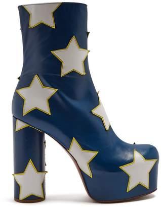Vetements Star-appliqué block-heel leather boot